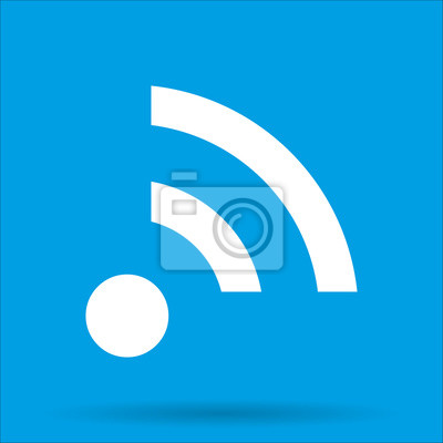Wi-fi-symbol wireless-verbindung mit schatten auf einem blauen ...