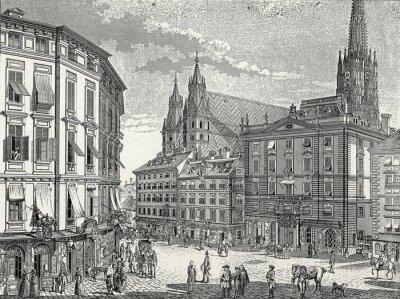 Bild Wien, Stock-im-Eisen-Platz Ende 18. Jh., Kupferstichvorlage
