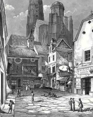 Bild Wien, Zwettlhof mit Stephansdom um 1842 Kupferstichvorlage