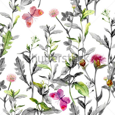 Bild Wiesenblumen, Gras, Kräuter. Nahtloser Kräuterhintergrund in den Schwarzweiss-Farben für Modedesign. Aquarell
