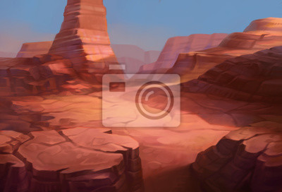 Bild Wild west Texas desert landscape with mountains of canyon. Realistic Cartoon style for game art and animation.