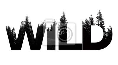 Bild Wild word made from outdoor wilderness treetop lettering