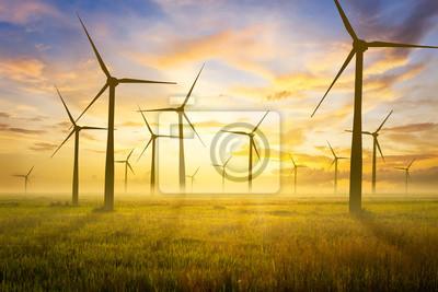 Bild Wind Turbine and Empty grassland and sky at evening time.