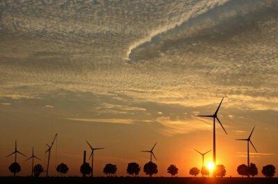 Bild Windpark im Sonnenuntergang bei Sonnenuntergang mit Cirrocumuluswolken