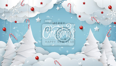 Bild Winter christmas composition in paper cut style.Merry Christmas text Calligraphic Lettering Vector illustration.