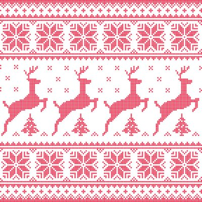 Bild Winter, Christmas red seamless pixelated pattern with deer