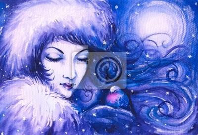 Winter-Frau, die einen kleinen Vogel.