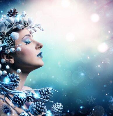 Bild Winter Frau Porträt - Schönheit Mode Model Mädchen Mit Snowy Dekoration