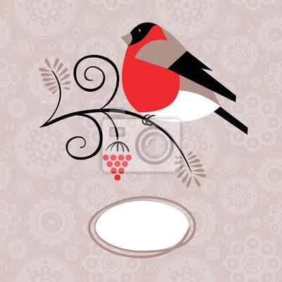 Winter-Hintergrund mit Dompfaff und Vogelkirsche