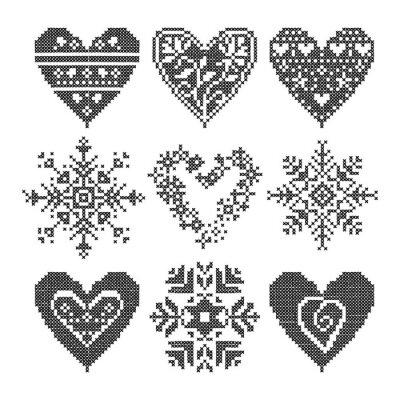 Bild Winter lieben nahtlose schwarze Herz-Set