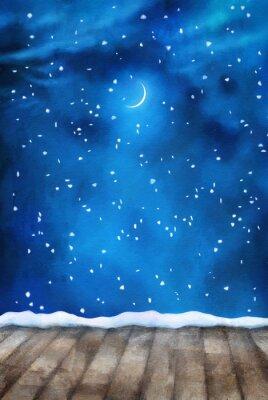 Bild Winter-Nacht-Anstrich-Hintergrund