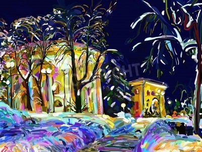 Bild winter night cityscape digital painting