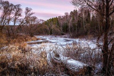 Bild Winter oder Frühling Fluss und Holz