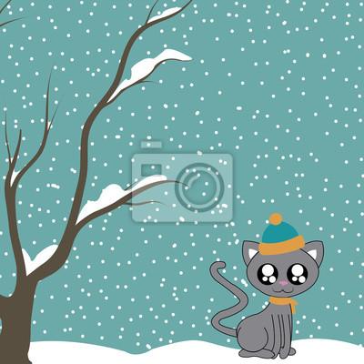 Winter und Katze
