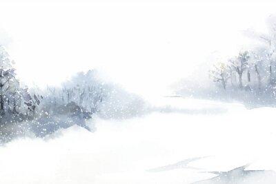 Bild Winter wonderland landscape painted by watercolor vector