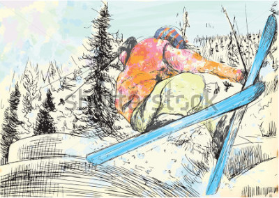 Bild Winterurlaub - Skifahrer. Vector einige von Hand gezeichnete Abbildungen der Schichten. Mindestens vier Ebenen in jedem Bild. Die Farbschichten sind maximal sechzehn Farben. Schwarze Konturen in einer