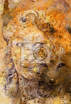 Wise schamanischen Frau Waldgöttin mit Fuchs, strukturierten Hintergrund