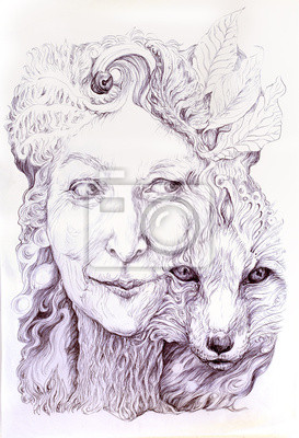 Wise shamanic woman forest goddess, with a second nature