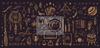 Bild Witchcraft, magic background for witches and wizards. Wicca and pagan tradition. Vector vintage collection. Hand drawn elements candles, book of shadows, potion, tarot cards etc.