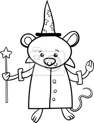 Bild Wizard Mouse Coloring Page