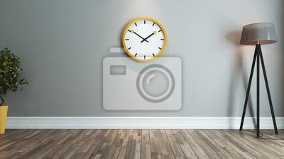 Wohnzimmer Interior Design Idee Mit Grossen Gelben Uhr Leinwandbilder