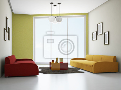 Wohnzimmer mit sofas farbe leinwandbilder • bilder Innenräume ...
