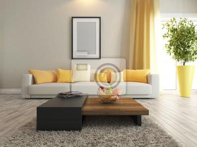 Wohnzimmer oder salon interior design rendering leinwandbilder ...