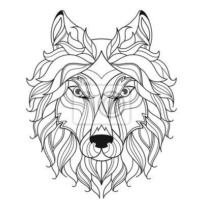 Wolf Kopf Zentangle Stilisiert Malvorlage Seite Leinwandbilder