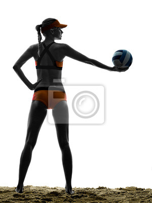 woman beach volley ball player silhouette