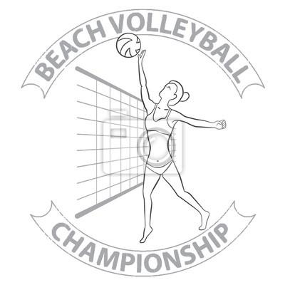 Woman Beach-Volleyball-Spieler in Skizze Handzeichnung Stil. Strand-Volleyball-Meisterschaft konzeptionelle Etikett oder ein Mode-Druck.