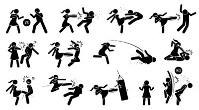 Bild Woman beating man stick figure sign and symbols. Vector illustration of female versus male fighting by punching, kicking, slapping, throwing, and uppercut. The girl is strong and winning the fight.