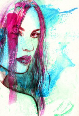 Bild Woman face. Abstract watercolor illustration