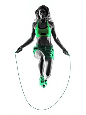 Bild woman fitness Jumping Rope exercises silhouette