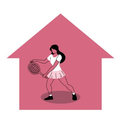 woman in different sports activities at home
