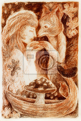woman mystical alliance with a fox, fantasy colorful detailed