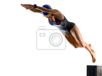 Bild woman sport swimmer swimming isolated white background