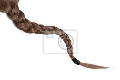 Bild Women braid on a white background. Brown hair, isolated