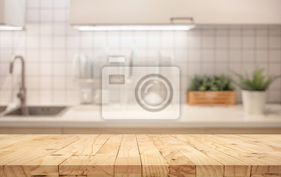 Wood Table Top On Blur Kitchen Counter Room Background Leinwandbilder Bilder Gericht Glaser Reinigen Myloview De