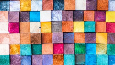 Bild Wood texture block stack on the wall for background, Abstract colorful wood texture.