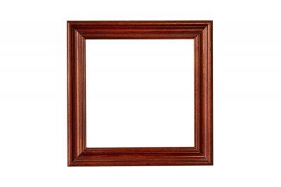 Bild Wooden square  mahogany frame isolated on white background
