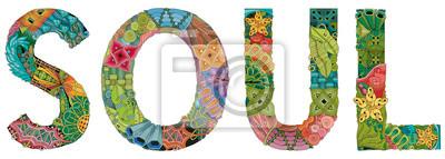 Bild Word SOUL. Vector zentangle object for decoration