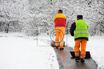 Bild Workers Entfernen ersten Schnee
