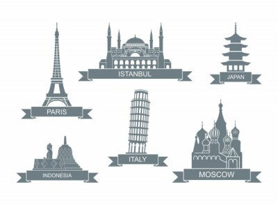 World architectural attractions. Stylized flat icons. Landmarks In Paris, Istanbul, Japan, Italy, Russia, Indonesia
