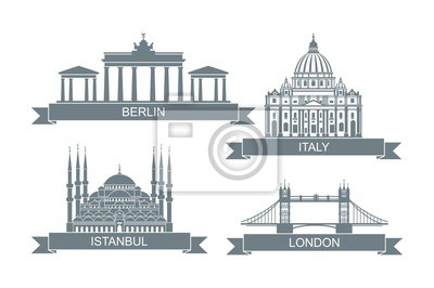 World architectural attractions. Stylized flat icons. Landmarks in Rome, London, Istanbul and Berlin