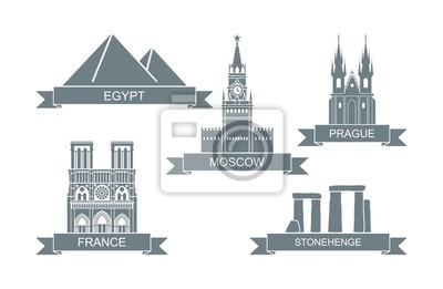World architectural attractions. Stylized flat icons. Landmarks of Moscow, Prague, Egypt, Paris, England