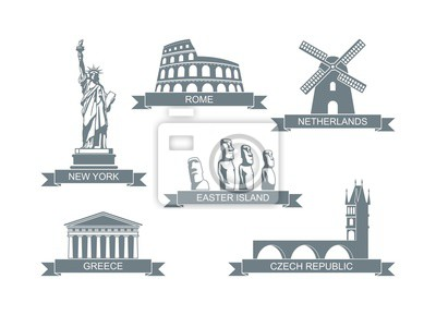 World architectural attractions. Stylized flat icons The statue of liberty, the Colosseum, the Parthenon and other