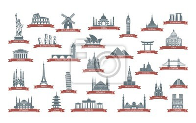 World architectural attractions. Stylized flat icons. Vector illustration