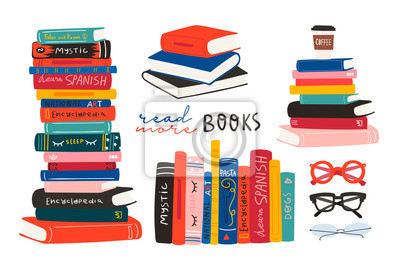Bild World book day. Stack of books, glasses, vertical books and coffee isolated on a white background. Set of hand drawn educational vector illustrations. Every illustration is isolated
