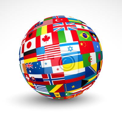 Bild World flags Kugel. Vektor-Illustration.