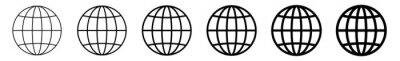 Bild World Icon Black | Earth Illustration | Globe Symbol | Planet Logo | World Wide Web Sign | Isolated | Variations